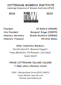 Cottenham-WI-Programme
