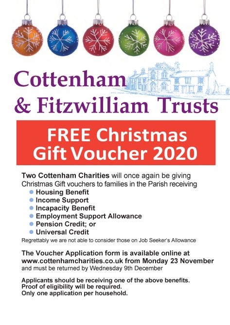 Cottenham Charities Christmas Voucher 2020