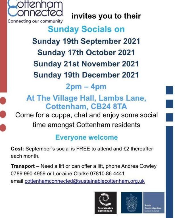Cottenham Connected Sunday Socials 2021