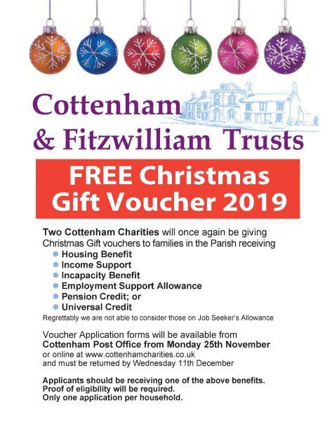 Cottenham Charities Christmas Vouchers 2019